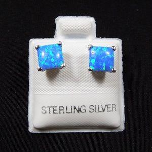 Blue Fire Opal Sterling Silver 6mm Studs